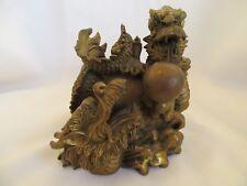 Vintage Brass Double Dragon Statue Figure