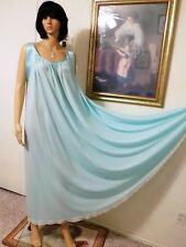 LUCIE ANN VTG Nylon SEAFOAM BLUE Satin Banded Sleeve Nightgown size L large