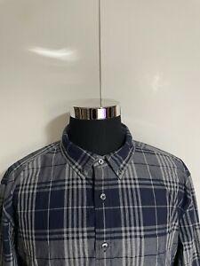 Tommy Hilfiger Men's Blue Custom Fit Long Sleeve Button Up Shirt Size XXL Plaid