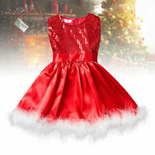 Girls Sequin Princess Red Dress Party Christmas Toddler Baby Sleeveless New QI