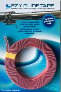 Ezyglide Curtain Rod Tape - smooth sliding curtain rings without wands/pulls 3m