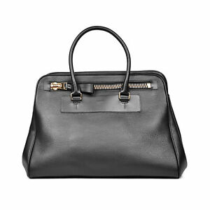 TOM FORD MEN'S BLACK LEATHER OPEN TOTE w/SIGNATURE OVERSIZED ZIPPER - NEW