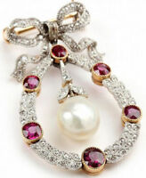 925 Sterling Silver Antique Look Rose Cut Natural Ruby Pearl & Diamond Brooch