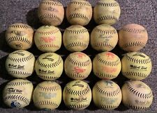 Big Lot Of 18 Well Used Yellow Green Slow Pitch Softballs Mixed Brands Lot M