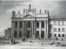 GRAVURE ANCIENNE 19e - SAINT JEAN DE LATRAN ROME - ITALIE