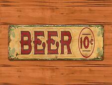 """Tin Sign """"Beer 10 Cents"""" Alcohol Rustic Man Cave Garage Bar Decor"""