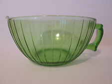 Vintage Large Green Ribbed Depression Glass Bowl With Spout