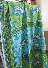 Vintage Georgette Polyester Hamil Textiles Fabric Blues Greens White BTHY