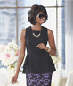 Curacao Rhinestone Embellished Necklace Top Black Blouse Women's L XL 1X 2X 3X