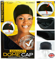 Spandex Dome Cap Flexible Breathable Col-Black With Elastic Band One Size