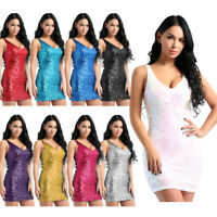 Sexy Women Sequin Bodycon Slim Sleeveless Mini Midi Maxi Dress Party Club Wear