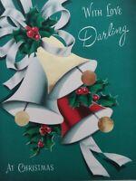 UNUSED Vtg With Love Darling Norcross Foil Trim Bells CHRISTMAS GREETING CARD