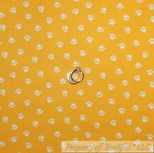 BonEful Fabric Cotton Quilt Yellow White Dog Puppy Paw Print Pet Boy Dot L Scrap