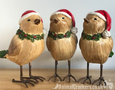 3 Sparrows in Christmas Hat wood effect bird ornament decoration bird lover gift