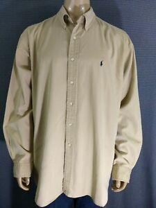 RALPH LAUREN Casual Long Sleeve Button Up Tan Khaki Shirt Mens XXL Blake Silk