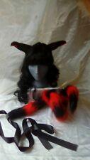 Black & red fox ears headband & spiral tail set Cosplay costume accessory