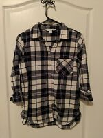 Old Navy - Women's Classic Flannel Shirt; White and Navy; Size: S; New w/o Tags