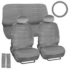 Velour Smooth Car Seat Covers – Vintage Classic Look in Gray w/ Steering Wheel