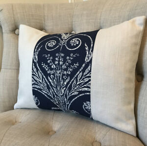 """12x16"""" Panelled Cushion Cover In Laura Ashley Josette Midnight & Bacall Silver"""