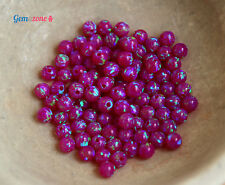 LOT 4MM Round Loose Spacer Beads Full Hole Pink Opal Lab Gemstone Bead 10 pcs