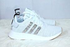 Adidas Custom Swarovski NMD R2 Shoes White Black Womens Size 8 1/2 CQ2009 NIB