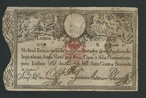 PORTUGAL 20.000 REIS 20$000 1826 (1799)  P-30   RARE IN THIS CONDITION
