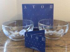 "2 Crystal Glass Etched Avon Hummingbird 5"" Dessert Bowls - In Original Box - Nib"