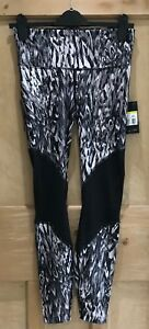 NIKE POWER VICTORY TIGHTS Size XS 6 S HIGH WAISTED BLACK white PRINTED BNWT