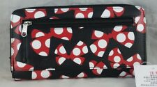Disney Parks Minnie Mouse Bows Pattern Zip Wallet - NEW