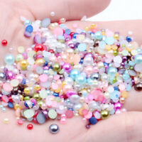 Half Round Resin Imitation Flatback Pearl Beads for Jewelry Making Nail Art Dec