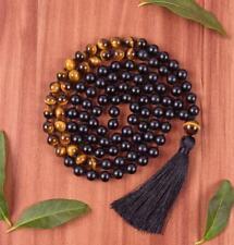 Cuff Buddhism classic 8MM 108 Black Agate Bead kont Necklace tassel Handmade