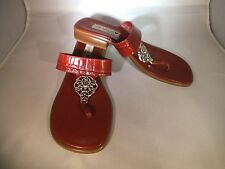 NEW LADIES BRIGHTON LOLA SANDALS BURGANDY RED CROC LEATHER SIZE 9.5 MED ITALY