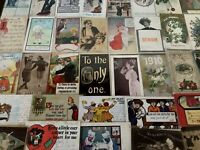 ~Lot of 45 Antique 1900's ~Mixed Topics Greetings Postcards~All with stamps-s326