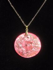 Gold Chain Necklace with Pink MOP Pendant