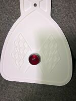 WHITE BICYCLE MUD FLAP  FITS SCHWINN WITH RED JEWEL SOLID WHITE
