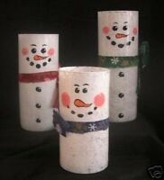 Set of 3 Snowman Candle Holders Floating Candles Pillar