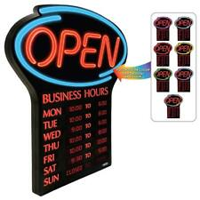 NEWON LED Open Sign with Programmable Business Hours & Flashing Effects, ENGLISH