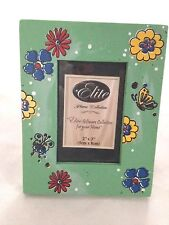"Green 3X4"" Picture Frame with Sunflowers & Bugs Holds 2X3"" Photo"