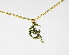 """Fairy Necklace; 18"""" Gold Necklace with Fairy Sat upon the Moon Pendant"""