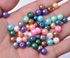 100pcs Mixed color charm Round bead  Glass Pearl Loose spacer beads 6MM