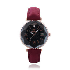 Women`s Fashion Rose Gold Prismatic Stary Sky Design Face Red Band Wrist Watch