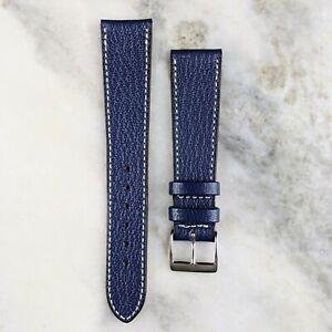 Genuine Goatskin Leather Watch Strap - Navy - 18mm/19mm/20mm