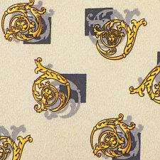 GIANNI VERSACE Ivory Gray Gold Yellow Dark Gray ACANTHUS MEDUSA Silk Tie EUC