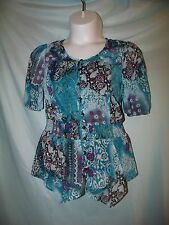 Fashion Bug Multi-Color Floral Paisley Boho Polyester Layered Shirt Set Sz M NWT