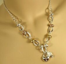 Trendy Heart & Shamrock Charm Link Chain Tri Color Gold Silver Ring Necklace