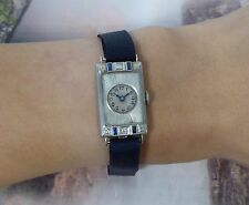 Vintage Ladies 18K White Gold with Diamond & Sapphire Manual Wind Wristwatch