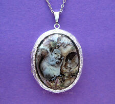 Porcelain GRAY SQUIRREL FAMILY CAMEO ST Locket Pendant Necklace Birthday Gift