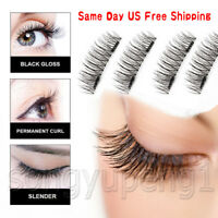 US 4PCS 3D Double Magnetic False Eyelashes Natural Eye Lashes Extension Handmade