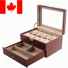 10 Grid Slot Mens Watch box Women Jewelry Display Drawer Case Christmas Gift