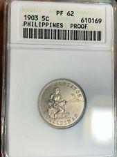 US PHILIPPINES FIVE CENTAVOS PROOF 1903 ANACS PF 62